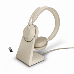 Jabra Evolve2 65 Stereo MS USB-A Bluetooth Headset inklusive Ladestation in Beige